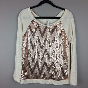 Tops - Rose gold Chevron Sequin slouchy sweatshirt top